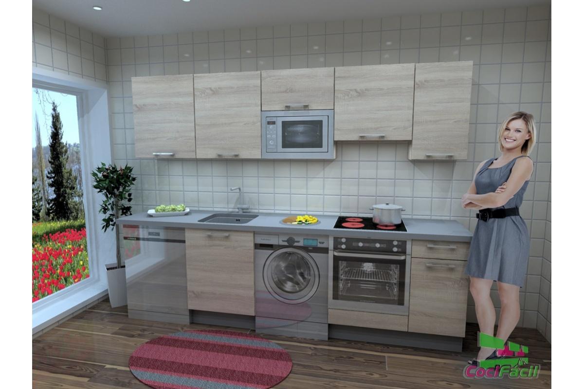 Cocina berl n barata modular recta con altos de 70 y - Cocinas modulares baratas ...