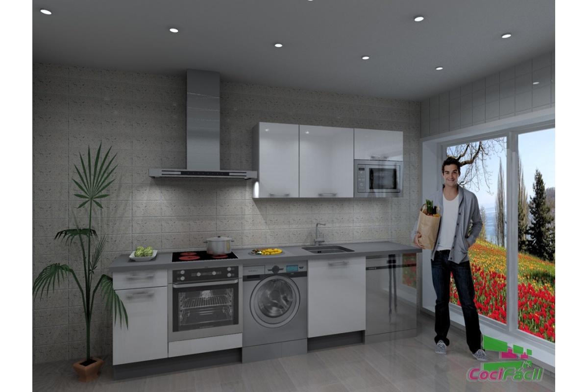 Cocina atenas barata modular recta con altos de 70 y campana decorativa cocif cil mk - Cocina con campana decorativa ...