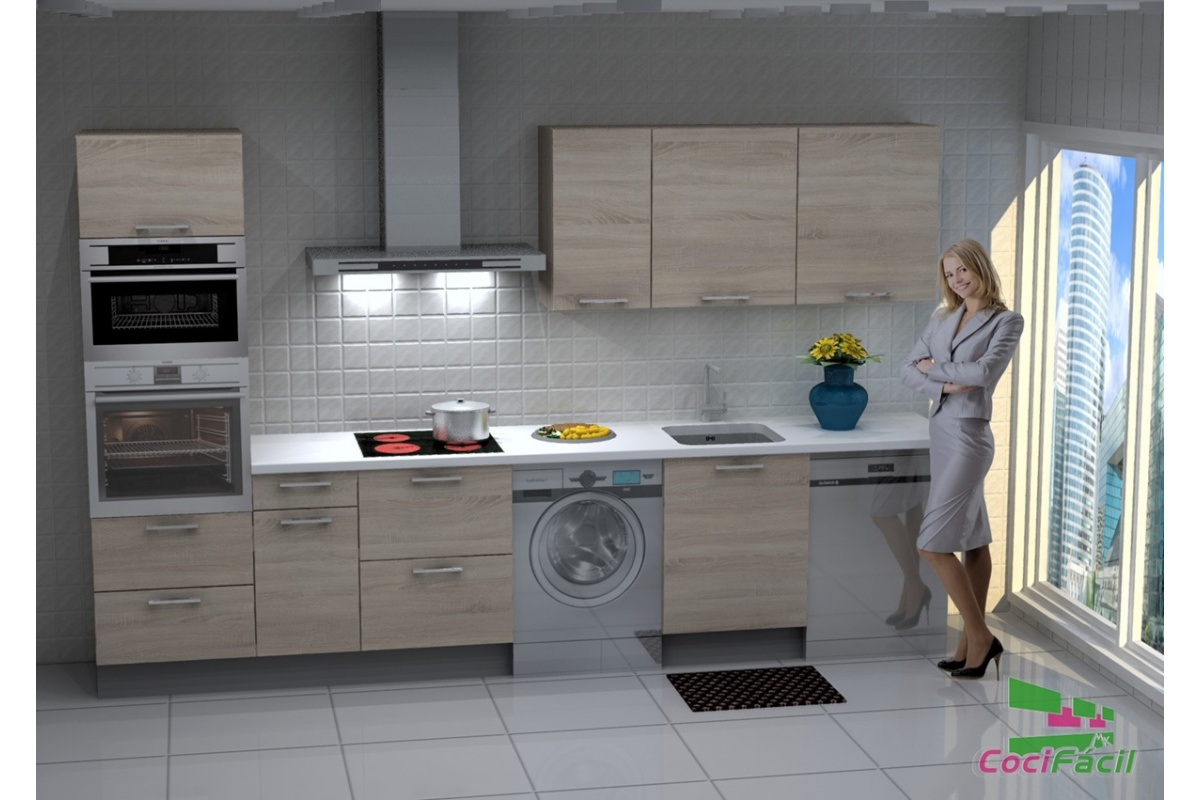 Cocina lisboa barata modular recta con altos de 70 y campana decorativa cocif cil mk - Cocina con campana decorativa ...