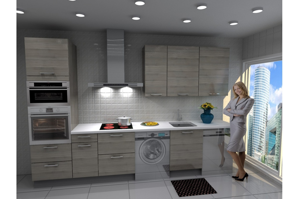 Cocina lisboa barata modular recta con altos de 90 y - Cocinas con campanas decorativas ...