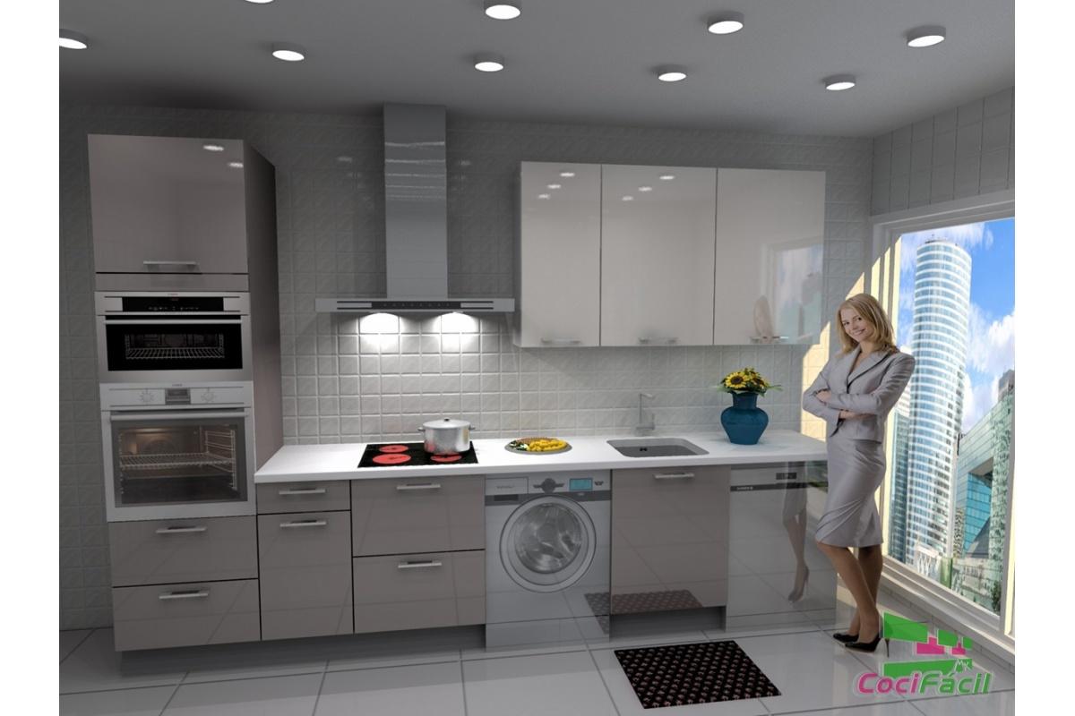 Cocina lisboa barata modular recta con altos de 90 y for Cocinas completas baratas