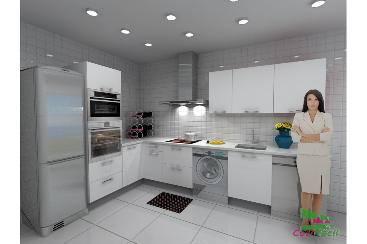 Cocina roma barata modular recta con altos de 70 y - Altura campana cocina ...