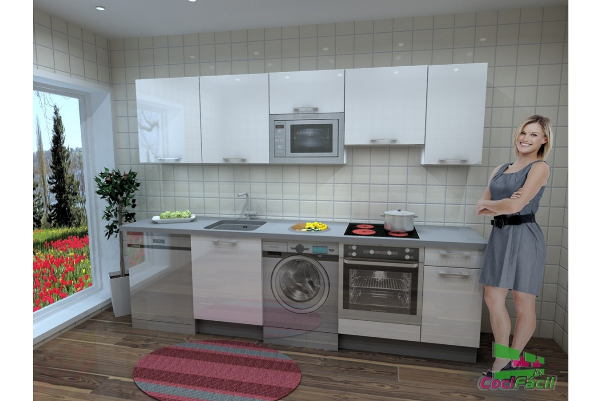 Cocina berl n barata modular recta con altos de 70 y for Cocinas completas baratas