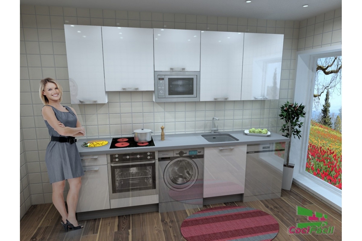 Cocina berl n barata modular recta con altos de 90 y for Cocinas completas baratas