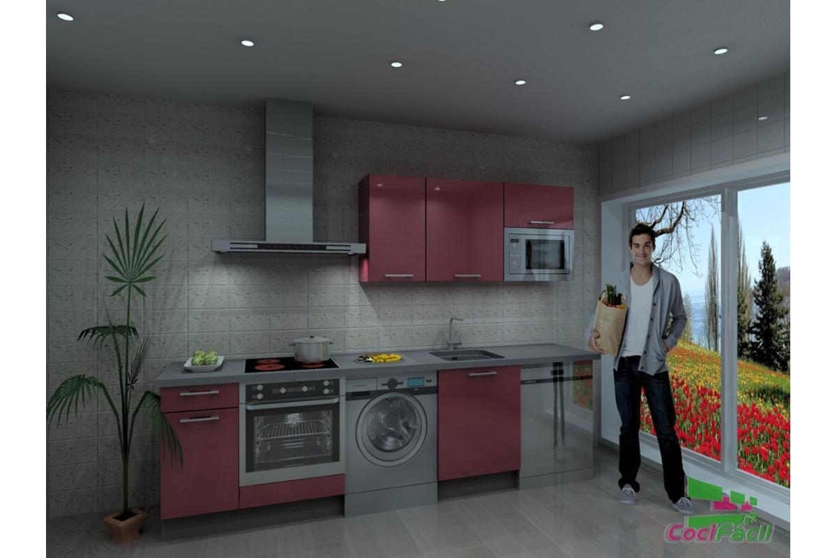 Cocina atenas barata modular recta con altos de 70 y for Cocinas completas baratas