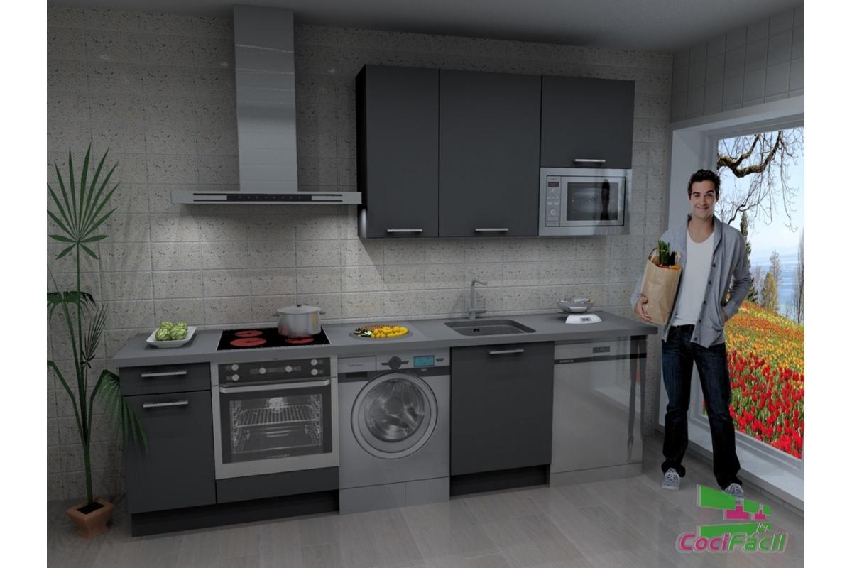 Cocina atenas barata modular recta con altos de 90 y - Cocinas con campanas decorativas ...