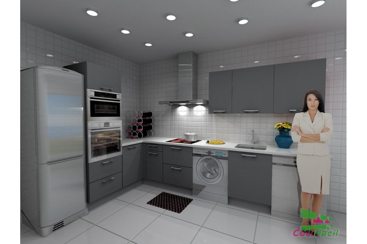 Bonito cocina con campana decorativa galer a de im genes for Muebles de cocina de 70 o 90